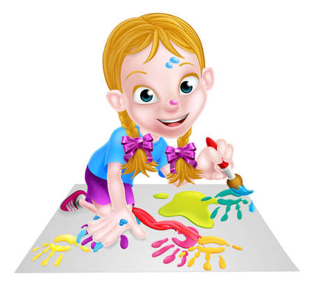 paper arts and crafts: Cartoon little girl painting a picture or having fun with paint and a paintbrush