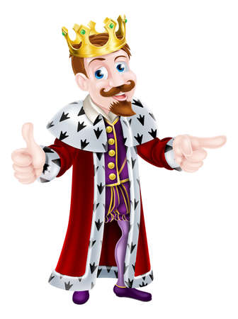 king and queen: King cartoon character wearing a crown giving a thumbs up with one hand and pointing with the other Illustration