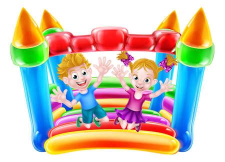 Cartoon Jungen und Mädchen springen auf einem Hüpfburg
