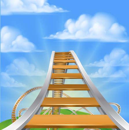 Une vue de haut sur un roller coaster regardant les boucles prêtes à descendre