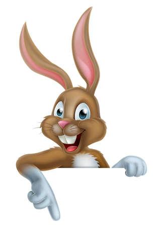 Cartoon Easter Bunny Kaninchen, die unten auf dem Hintergrund Illustration