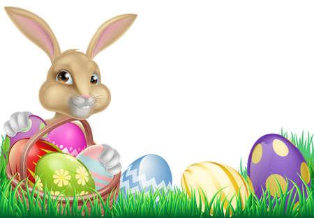 huevo caricatura: Conejo de Pascua de dibujos animados con una cesta llena de huevos de chocolate en un campo