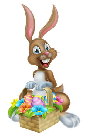 white chocolate: Cartoon Easter bunny rabbit holding an Easter Eggs basket, could be on a chocolate Easter Egg Hunt