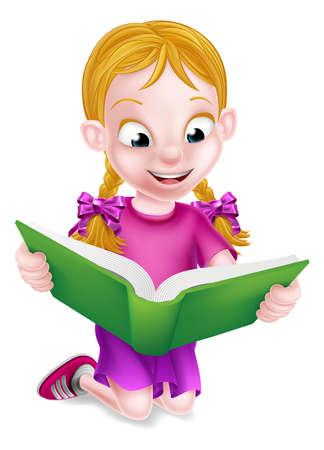 jardin de infantes: Una niña de dibujos animados feliz disfrutando de la lectura de un libro grande