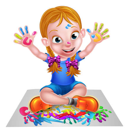 A happy cartoon little girl enjoying being creative having messy play with paint