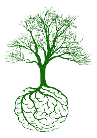 rooted: A tree growing from rooots shaped like a human brain Illustration
