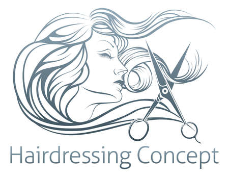scissors icon: An illustration of a beautiful woman having her hair cut by hairdresser scissors.