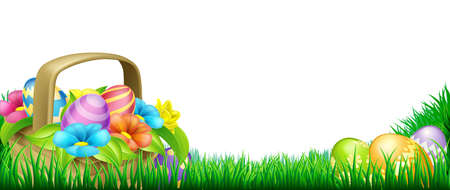 cartoon easter basket: Easter scene footer design. Basket full of decorated chocolate Easter eggs and flowers in a field