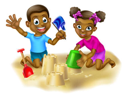 Two kids having fun building sandcastles on a beach or in a sand pit with bucket and spade Illustration