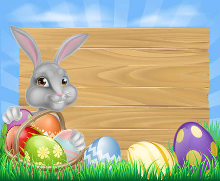 buny: Cartoon Easter wooden sign. White Easter bunny with a basket full of decorated chocolate Easter eggs Illustration