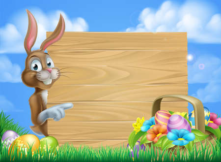 easter sign: Cartoon Easter bunny and Easter basket full of Easter eggs background