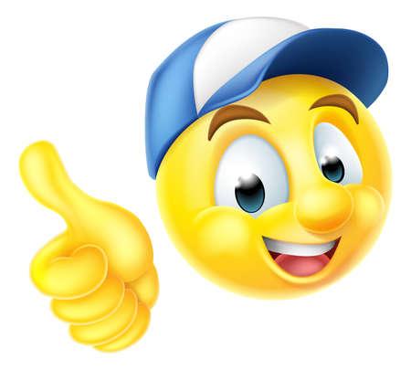 carita feliz caricatura: emoji emoticono de dibujos animados sonriente del carácter de la cara que lleva un casquillo de los trabajadores y dando un pulgar hacia arriba