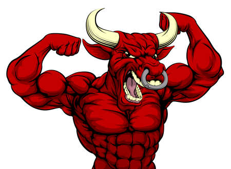 bodybuilding: Cartoon mean strong red bull sports mascot