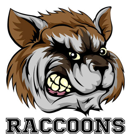 angry bear: An illustration of a cartoon raccoon sports team mascot with the text Raccoons