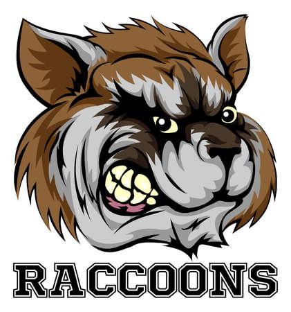 diente caricatura: Un ejemplo de una mascota del equipo de deportes de mapache de dibujos animados con los mapaches de texto Vectores
