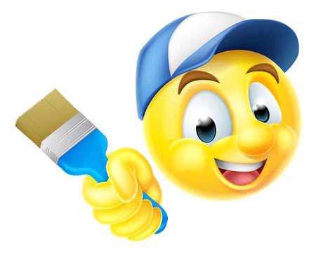 brocha de pintura: cara sonriente de dibujos animados emoticon emoji car�cter pintor sosteniendo un pincel Vectores
