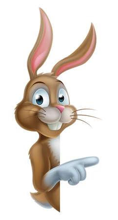 osterhase: Ein Zeige Cartoon Osterhase Kaninchen Illustration