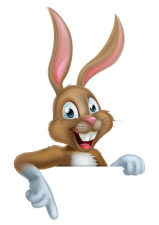 osterhase: Eine glückliche Cartoon-Osterhase Kaninchen nach unten Illustration