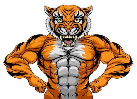 cartoon body: A tiger animal sports mascot showing off his huge muscles