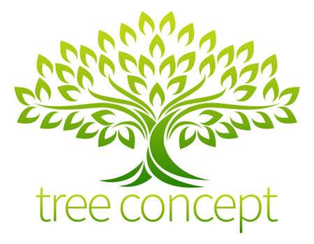 roble arbol: Un icono del árbol del concepto del símbolo ilustración estilizada