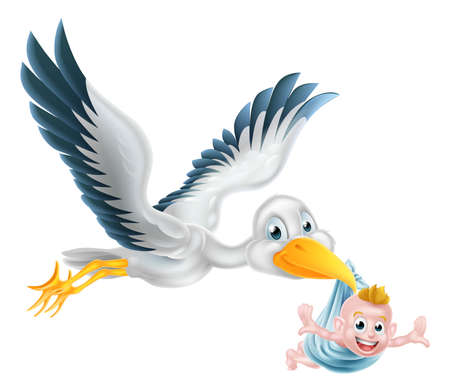 baby boy announcement: A happy cartoon stork bird animal character flying through the air holding a newborn baby. Classic myth of stork bird delivering a new born baby