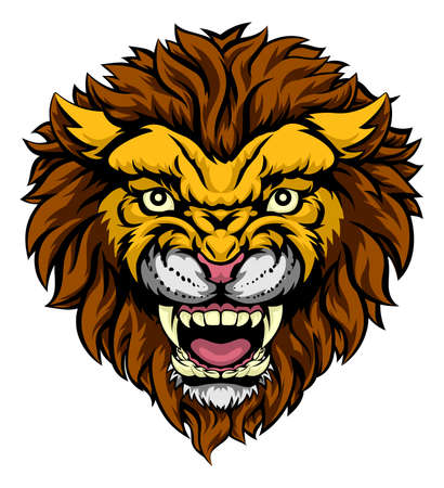mascots: An illustration of a mean powerful lion animal face sports mascot