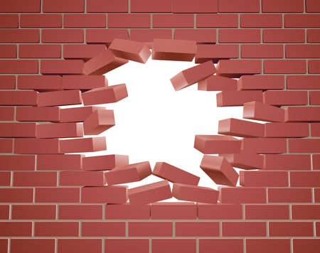 damaged: Breaking through a brick wall with a hole Illustration