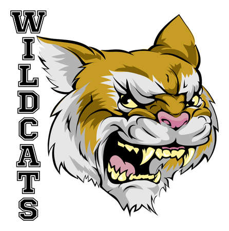 wildcat: An illustration of a cartoon wildcat sports team mascot with the text Wildcats