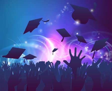 празднования: Выпускной собрание толпы Концепция студенческих рук в силуэт бросали свои минометные доски крышки, празднующих с абстрактным фоном