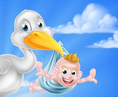 cigogne: Un oiseau cigogne de bande dessinée tenant un bébé nouveau-né. mythe classique de cigogne oiseau livrer un bébé nouveau-né Illustration
