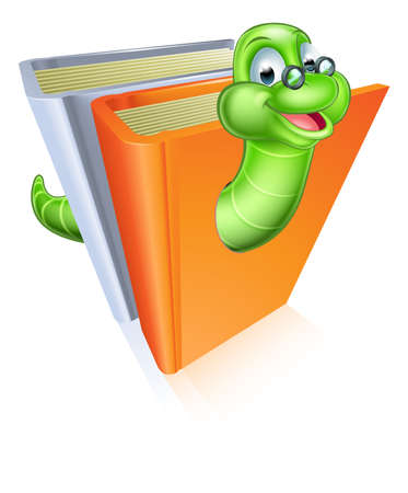 grub: Bookworm cartoon mascot wearing glasses coming out of books