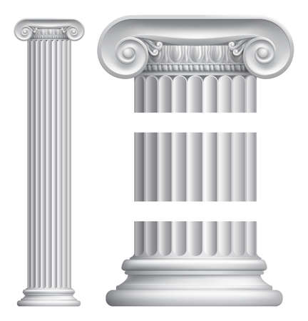 roman pillar: An illustration of a classic Greek or Roman ionic column pillar