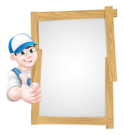 personal de limpieza: Mecánico de la historieta, fontanero, manitas, decorador o un jardinero que se inclina alrededor de un tablero de la muestra de madera y dando un pulgar hacia arriba