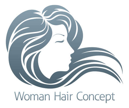 hair stylist: An illustration of a beautiful woman with flowing hair in profile