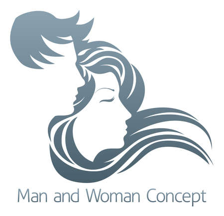 unisex: An illustration of a handsome man and beautiful woman with flowing hair in profile