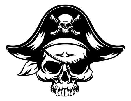 pirate cartoon: A pirate Skull wearing a tri corn captains hat and an eye patch