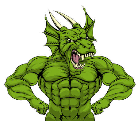 muscular men: Cartoon tough mean strong green dragon sports mascot