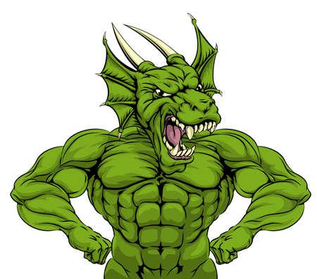 dragones: De dibujos animados dura media fuerte mascota verde de los deportes dragón