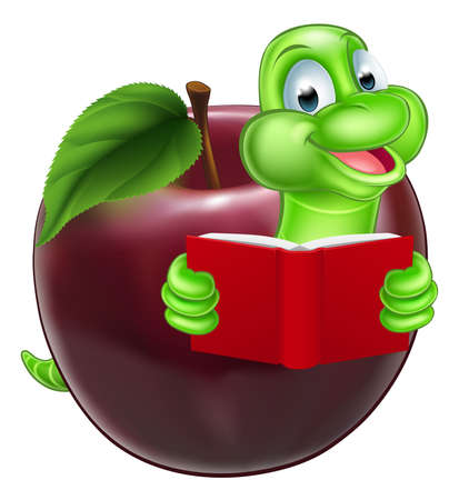 book worm: A happy cute cartoon caterpillar bookworm worm or catepillar reading a book and coming out of an apple