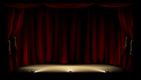 stage: An illustration of a theatre or theater stage with footlights and red curtain backdrop Illustration