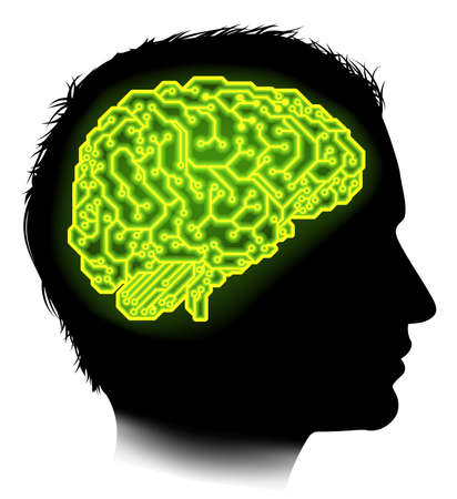 circuitos electricos: Silueta de un hombre con un cerebro compuesto por circuitos eléctricos o de una tarjeta de circuitos