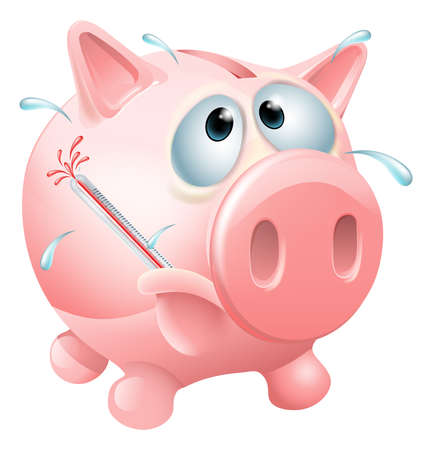 causing: Unhealthy finances concept of an unwell piggy bank sweating with a fever and causing a thermometer to burst Illustration