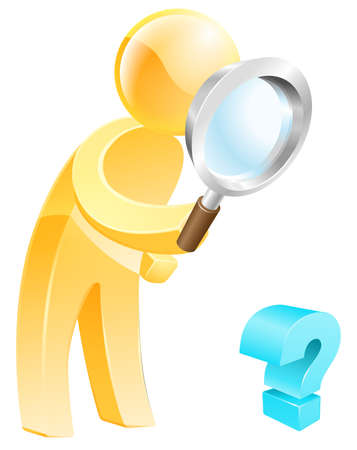 questioning: Looking for the answer concept of a person with a magnifying glass looking down at a question mark sign Illustration