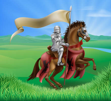 joust: A red medieval knight in armor riding on horseback on a brown horse holding a flag or banner in green field of grass with lion insignia Illustration
