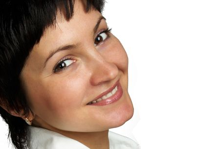 Smiling beautiful woman. Close-up. photo