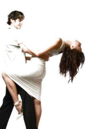 dancing loving teen couple, happy and fun photo