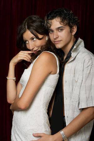 loving teen couple, happy and fun photo