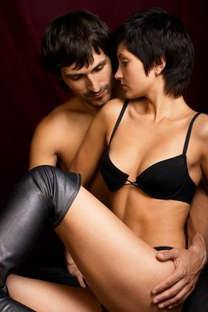 Loving adult couple, beautiful and happy. photo