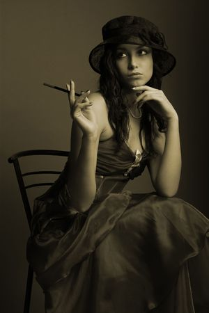 Beautiful woman in sepia style.