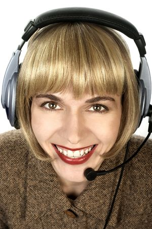 Friendly customer support service. Smiling attractive saleswoman. Stock Photo - 303683